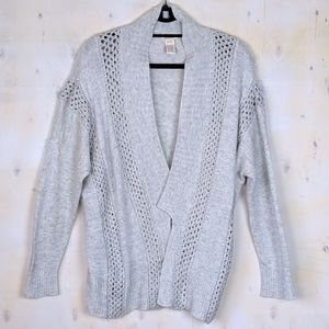 Sundance light gray crochet cardigan L